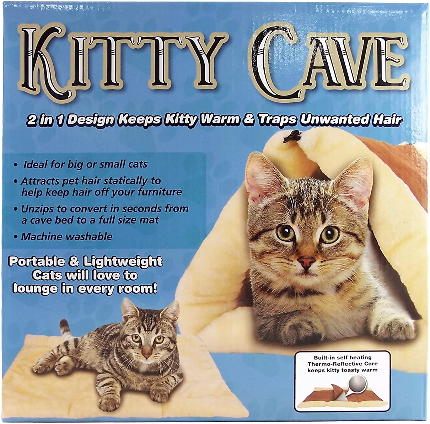 Kitty Cave 2 in 1 Fleece Tunnel or Mat Measures 36  x 23  Flat color is Brown and Tan