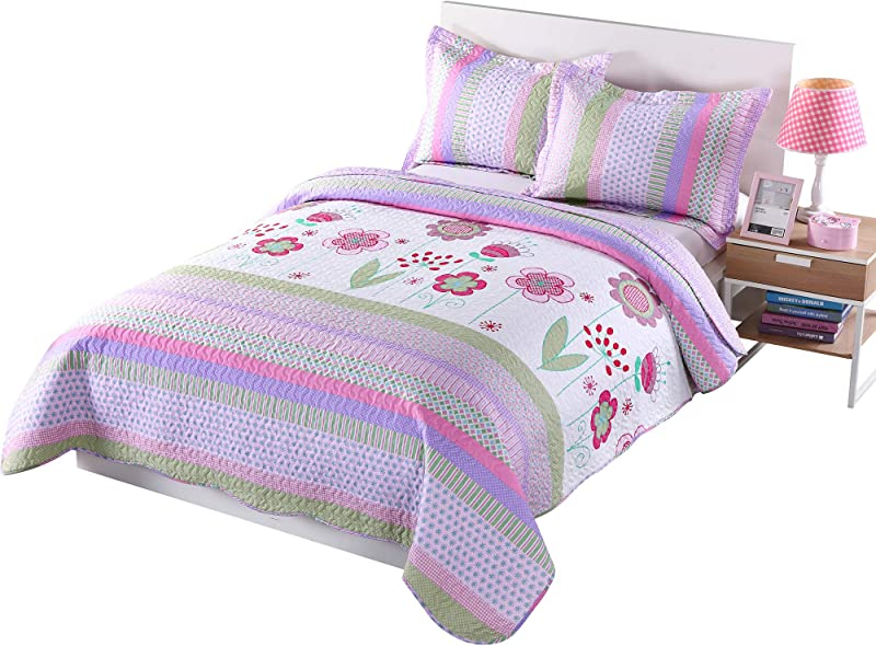 MarCielo 3 Piece Kids Bedspread Quilts Set Throw Blanket For Teens Girls Bed Printed Bedding Coverlet Full Size Purple Floral Striped Full