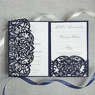 50 CARTE CONFEZIONE Blu marino apribile taglio laser inviti matrimonio fai da te partecipazioni matrimonio carta con busta