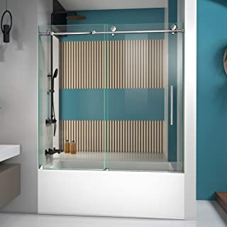 DreamLine Enigma-X 55-59 in. W x 62 in. H Fully Frameless Sliding Tub Door in Polished Stainless Steel, SHDR-61606210-08