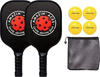 Amazin' Aces Pickleball Paddle Set | Pickleball Set Includes Two Graphite Pickleball Paddles + Four Balls + One Mesh Carry...