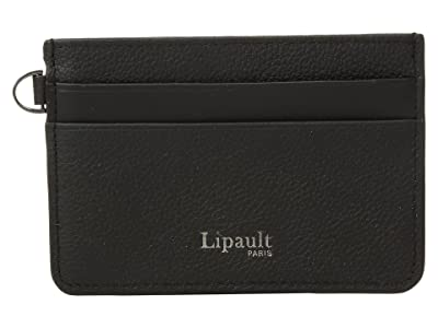 Lipault Paris Plume Elegance Leather Card Holder (Black) Credit card Wallet