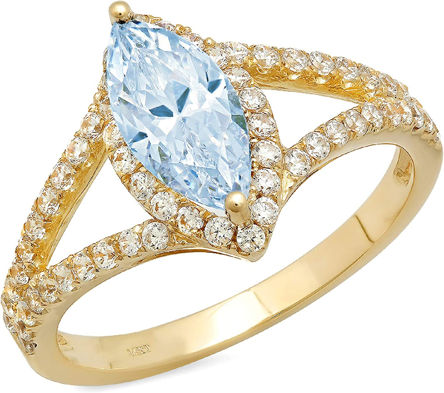1.14ct Marquise Cut Solitaire split shank Halo Natural Sky Blue Topaz Gem Stone Ideal VVS1 Engagement Promise Statement Anniversary Bridal Wedding ring Solid 14k Yellow Gold