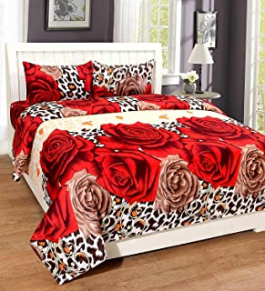 STARnSTYLE Big Rose Printed 3D 140 TC Double bedsheet with 2 Pillow Cover,Double bedsheets with 2 Pillow Covers Cotton,bedsheets for Double Bed,Bed Sheets Cotton,Cotton Double bedsheet