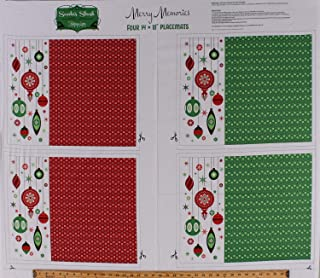 """36"""" X 44"""" Panel Christmas Placemats Red Green Ornaments Stars Holiday Patrick Lose Winter Wonderland Merry Memories Cotton Fabric Panel (D385.22)"""
