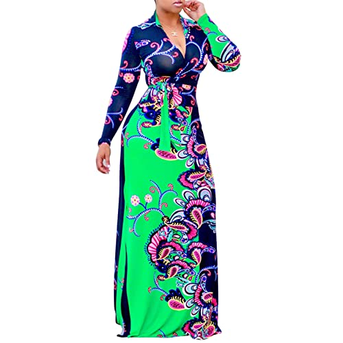 03738ad8b55 PiePieBuy Women Plus Size Dashiki Traditional Graffiti Printed V Neck Sash African  Maxi Dress Ball Gown