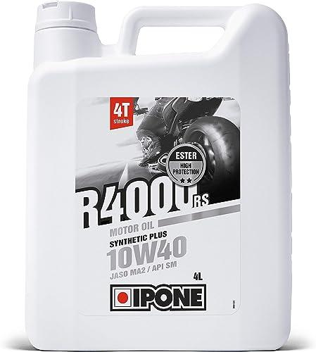 IPONE 800030 Huile Moto 4 Temps 10W40 R4000 RS-Bidon 4 litres-Lubrifiant Semi-Synthétique avec Esters-Haute Qualité-R...