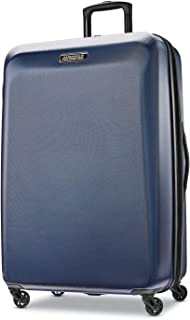 American Tourister Moonlight Hardside Expandable Luggage with Spinner Wheels, Navy, Checked-Large 28-Inch