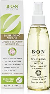 B.O.N Natural Belly Oil to rub on Tummy for Itchy Pregnancy Stretch Marks. Special Blend of Natural Oils for Mother's to Be and Baby Massage | No Mineral Oil - 200 mL (6.76 FL.OZ.)