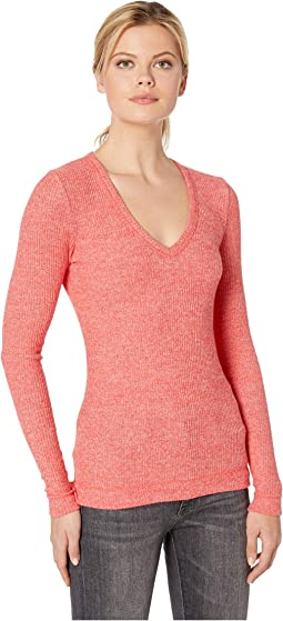Long Sleeve V-Neck Brushed Rib Top