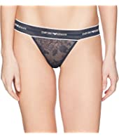 Emporio Armani - Lace Thong with Branded Waistband