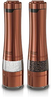 Russell Hobbs RHPK4100CPR Electric Salt & Pepper Mill Set with Adjustable Coarseness, Set of 2 Grinders, Copper