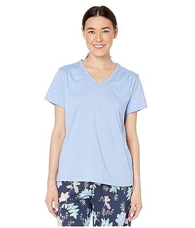 Karen Neuburger Petite Sunday In Sorrento Short Sleeve Pullover Top (Solid/Vista Blue) Women