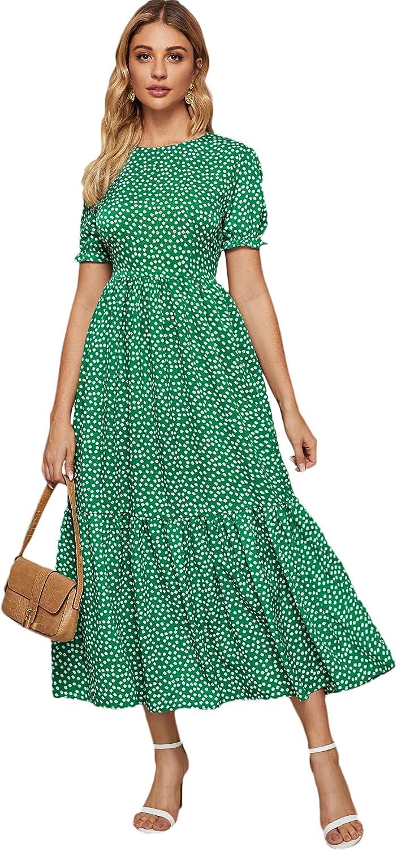 Floerns Women's Boho Floral Print Short Puff Sleeve Round Neck A Line Long Dress