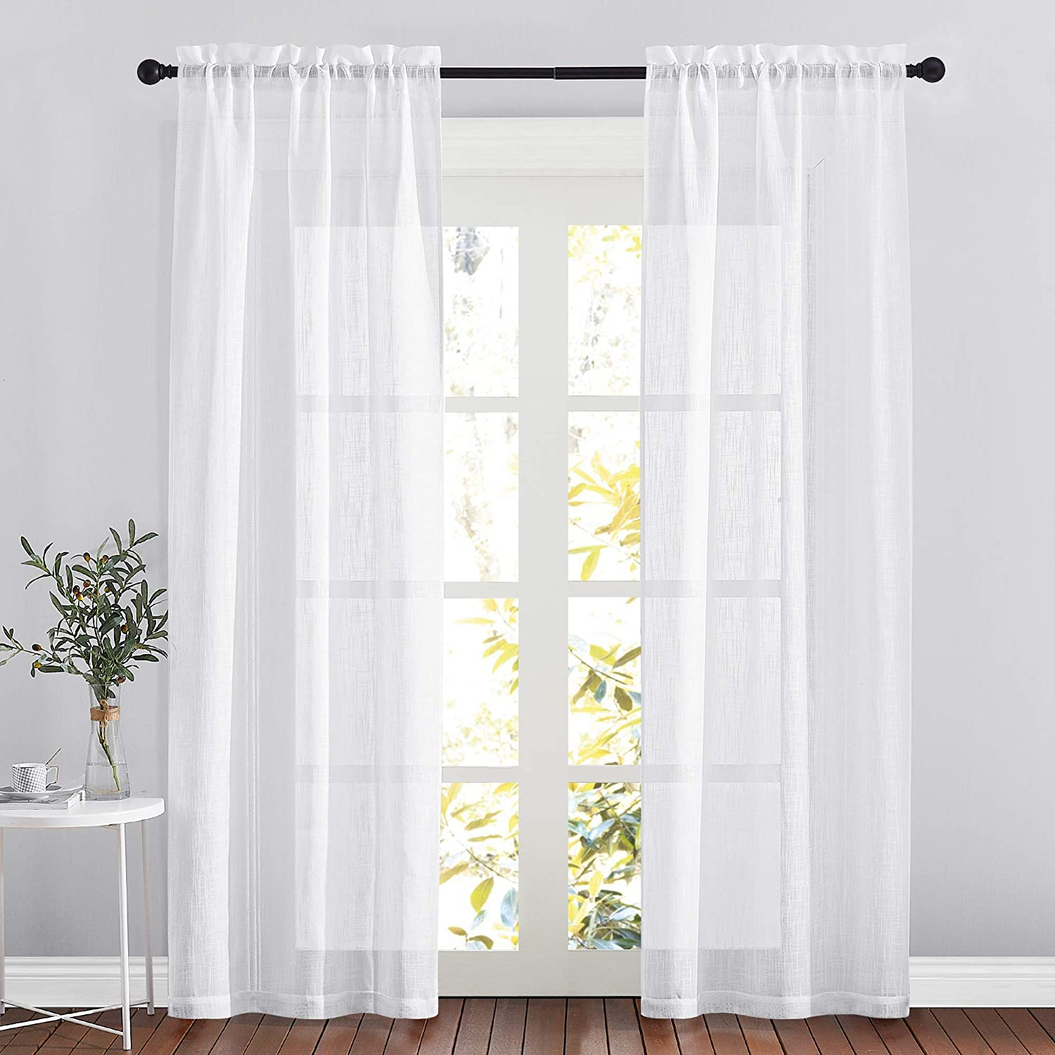 RYB HOME White Curtains Linen Textured Blend Semi Sheer Curtains Farmhouse Window Decor for Patio Door Living Room Bedroom Home Office, White, W 34 x L 95 inch, 2 Pcs