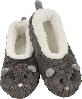 Snoozies Womens Slippers Furry Foot Pals - Animal Slippers for Women - Womens Animal Slipper Socks - Fuzzy Slippers with Soft Soles - Mouse with White Lining - Large