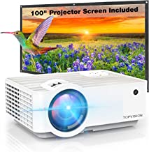 "Video Projector, TOPVISION 4500L Portable Mini Projector with 100"" Projector Screen, 1080P Supported, Built in HI-FI Speakers, Compatible with Fire Stick, HDMI, VGA, USB, TF, AV, PS4"