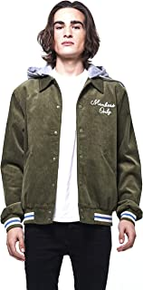 Members Only Men's Corduroy Varsity Jacket with Removable Hood