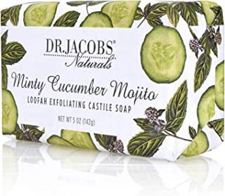 Dr Jacobs Naturals, Triple Milled Loofah Exfoliating Castile Bar Soap 5 oz. - Minty Cucumber Mojito