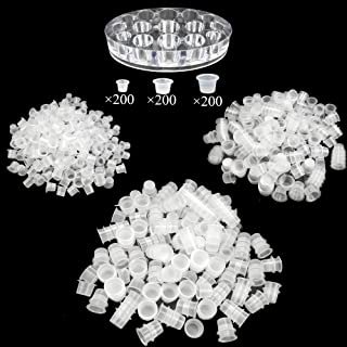 600 Pcs Disposable Plastic Clear Tattoo Ink Cups Small Medium Large for Tattooing and Eyelash with Tattoo Pigment Ink Cap Cup Holder Stand by SKYCOOOOL