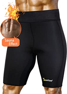Junlan Men's Weight Loss Sauna Hot Sweat Thermo Shorts Body Shaper Neoprene Athletic Yoga Pants Gym Tummy Fat Burner Slimming