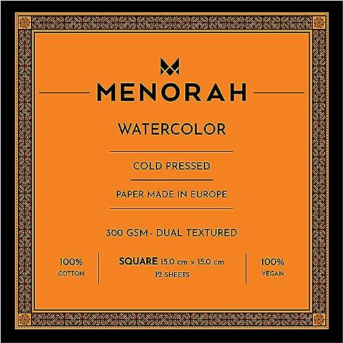 MENORAH Watercolour Sketchbook Paper Square 300 GSM 100 Cotton Square 15cm x 15cm 12 Sheets Watercolor Paper Sketch pad Glued one end