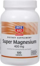 Rite Aid Super Magnesium Supplement, 400 mg - 100 Tablets | Bone and Heart Health Supplement