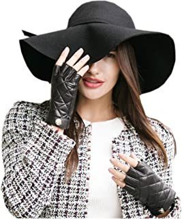 YISEVEN Women's Motorcycle Driving Fingerless Leather Gloves Unlined