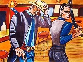 JUSTIFIED PRINT POSTER t.v. western series man cave art timothy olyphant dvd blu-ray disc gun beretta glock shotgun