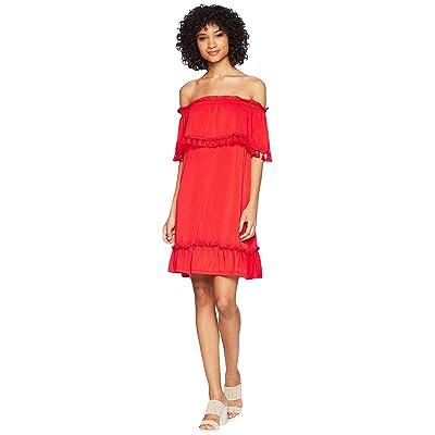 kensie Slinky Knit Off the Shoulder Dress KS5K8196 (Red Pepper) Women