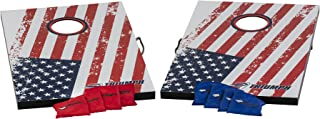 Triumph Sports Patriotic Tournament Outdoor Moisture Resistant Portable Bean Bag Toss Game Set with 2 Wooden Boards and 8 Bean Bags