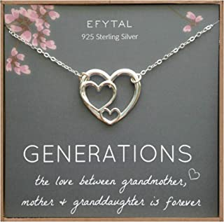 EFYTAL Mother's Day Gift for Grandma, Sterling Silver Triple Heart for Mom & Granddaughter, Generations Necklace