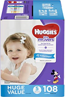 HUGGIES LITTLE MOVERS Diapers, Size 5 (27+ lb.), 108 Ct., HUGE PACK (Packaging May Vary), Baby Diapers for Active Babies