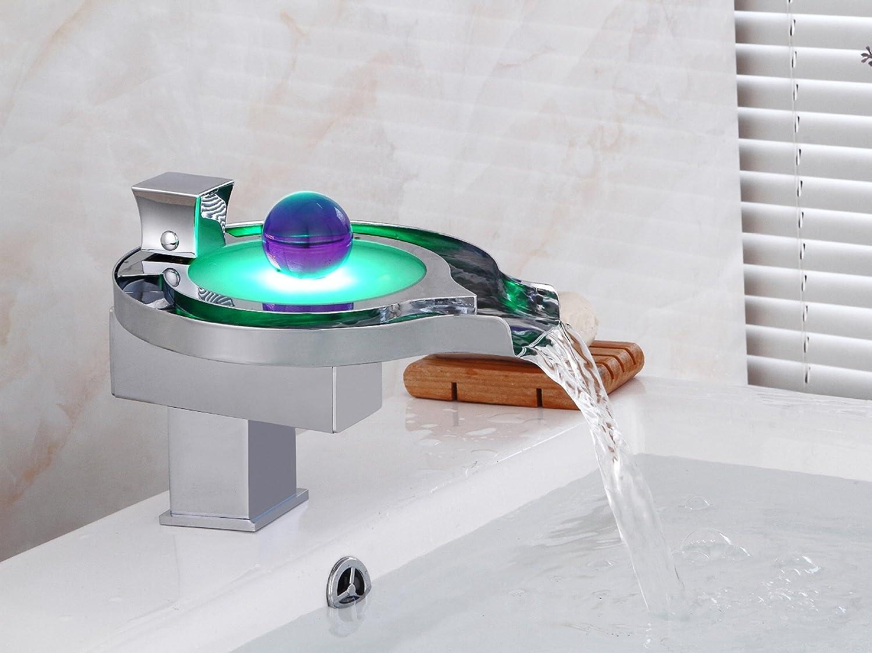 SLoogt Bad Waschbecken Wasserhahn LED leuchtende Farbe Mode kreative Kupfer Wasserhahn Bad heien und kalten Mix, LED Farbe Wasserhahn