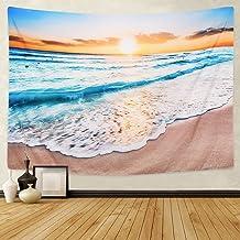 BLEUM CADE Ocean Wave Tapestry Wall Hanging Ocean Beach Tapestry Sea Sunset Tapestry for Living Room Bedroom Dorm Home Decor