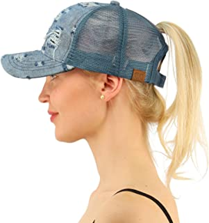 Ponytail Messy Buns Trucker Ponycaps Plain Baseball Visor Cap Dad Hat