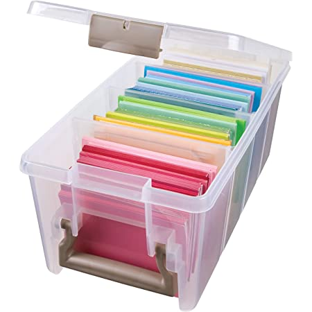 Art Bin 0365506 Semi Satchel with 3 Removable Dividers, Portable Art & Craft Organizer with Handle, [1] Plastic Storage Case, Clear, Gold