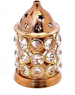 Hashcart Akhand Diya Decorative Brass Crystal Oil Lamp Tea Light Holder Lantern Puja Lamp (Straight)