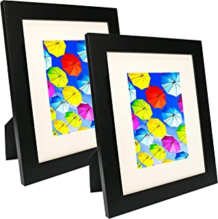 SpoiledHippo 8x10 Picture Frame Collage - Set of 2 Black Wood Frames - Photo Frame for Wedding, Certificate, Family and Baby Pictures - Matted Frames for Wall with 4 Mats for 5x7 and 3x5 Photos