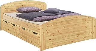Erst-Holz Lit Adulte Extra Haut pin Massif 140x200 idéal pour Les Personnes âgées, tiroirs sommier 60.50-14FV