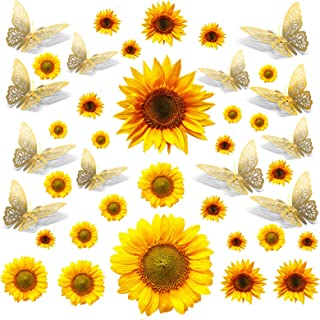 28 PCS Sunflower Wall Decals with 12 PCS Gold 3D Butterfly Metallic Wall Stickers, Peel and Stick Yellow Sunflower Wall De...