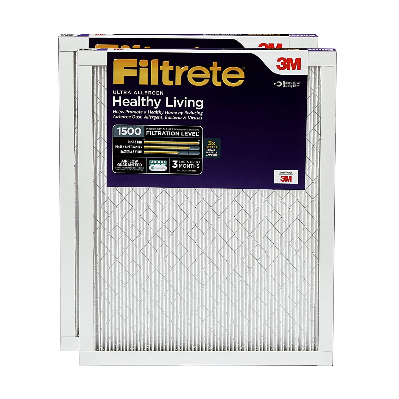 Filtrete 20x20x1, AC Furnace Air Filter, MPR 1500, Healthy Living Ultra Allergen, 2-Pack