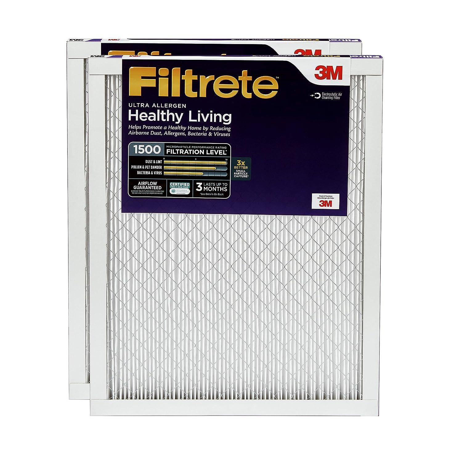 Filtrete 20x20x1, AC Furnace Air Filter, MPR 1500, Healthy Living Ultra Allergen, 2-Pack enqihmqkvynbm1