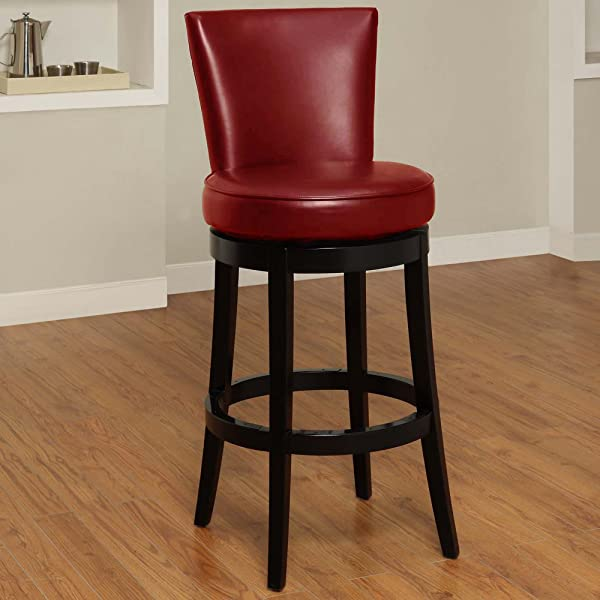 Armen Living LC4044BARE30 Boston 30 Bar Height Swivel Barstool In Red Bonded Leather And Black Wood Finish