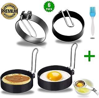 4 Pack Stainless Steel Nonstick Egg Ring Round Breakfast Household Kitchen Mold Cooking Tool Omelette Frying Egg McMuffin Sandwiches Egg Maker Molds Shaper Circle Mold Pancake Appd 100% Food Grade