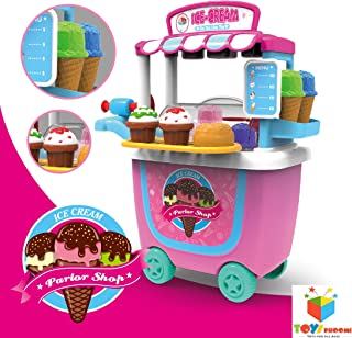 Toys Bhoomi Fascinating Pushcart Super-Fun to Play Trolley Ice Cream Parlor Shop - 31 Pieces