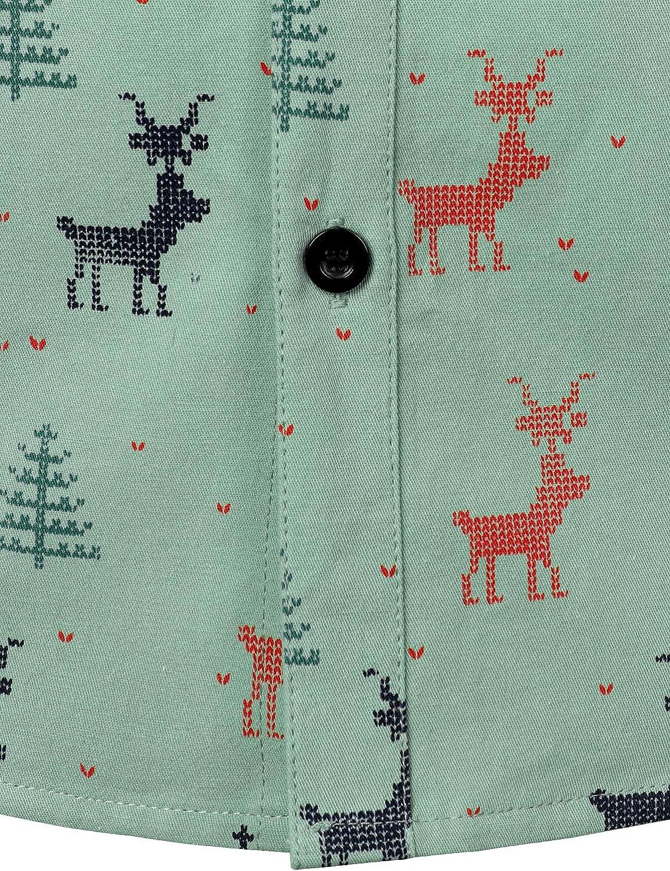 JOGAL Mens Christmas Santa Claus Party Long Sleeve Button Down Shirts