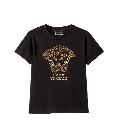 Versace Kids Short Sleeve Embellished Medusa Logo T-Shirt (Toddler/Little Kids)