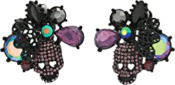 Skull & Stone Cluster Clip-On Earrings