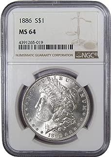 1886 $1 Morgan Silver Dollar US Coin MS 64 NGC